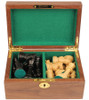 "British Staunton Chess Set Ebony & Boxwood Pieces with Walnut Chess Box - 4"" King"
