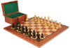 "British Staunton Chess Set Ebony & Boxwood Pieces with Mahogany Board & Box - 4"" King"