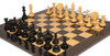 "Strategos Staunton Chess Set Ebony & Boxwood Pieces Black & Ash Burl Chess Board - 4.25"" King"
