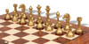 Small Staunton Metal Chess Set with Elm Burl Chess Board