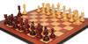 Marengo Staunton Chess Set in Padauk & Boxwood with Padauk & Bird's-Eye Maple Molded Edge Chess Board