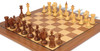 Soviet Era Latvian Antique Reproduction Chess Set Golden Rosewood & Boxwood with Classic Walnut Chess Board