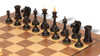 Soviet Era Latvian Antique Reproduction Chess Set Ebonized & Boxwood with Classic Walnut Chess Board