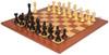 English Upright Antique Reproduction Chess Set Ebonized & Boxwood with Classic Mahogany Chess Board