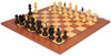 Hungarian Antique Reproduction Chess Set Ebonized & Boxwood with Classic Mahogany Chess Board
