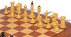Soviet Era Latvian Antique Reproduction Chess Set Ebonized & Boxwood with Classic Mahogany Chess Board