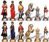 Large Napoleon Theme Hand Painted Metal Chess Set by Italfama