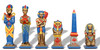 Large Egyptian Theme Hand Pained Metal Chess Set  with Elm Burl Chess Board