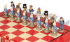 Alice in Wonderland Theme Chess Set with Red & Erable Deluxe Chess Board