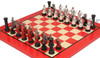 Templar Knights Theme Chess Set with Red & Erable Deluxe Chess Board