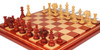 Strategos Staunton Chess Set in Padauk & Boxwood with Padauk & Maple Mission Craft Chess Board