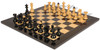 "Vienna Coffee House Antique Reproduction Chess Set High Gloss Black & Boxwood Pieces with Black & Ash Burl Chess Board - 4"" King"