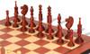 Circa 1800 English Turned Antique Reproduction Chess Set Padauk & Boxwood Pieces with Padauk Molded Chess Board