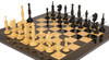 Circa 1800 English Turned Antique Reproduction Chess Set Ebony & Boxwood Pieces with Black Ash Burl Chess Board