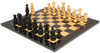 French Regency Antique Reproduction Chess Set Ebony & Boxwood Pieces with Black & Ash Burl Chess Board