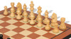 "German Knight Staunton Chess Set Ebonized & Boxwood Pieces with Mahogany Molded Edge Chess Board - 3.25"" King"