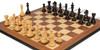 "Fierce Knight Staunton Chess Set Ebonized & Boxwood Pieces with Walnut Molded Edge Chess Board - 4"" King"