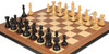 "Fierce Knight Staunton Chess Set Ebonized & Boxwood Pieces with Walnut Molded Edge Chess Board - 3.5"" King"