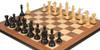 "Fierce Knight Staunton Chess Set Ebonized & Boxwood Pieces with Walnut Molded Edge Chess Board - 3"" King"
