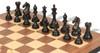 "Fierce Knight Staunton Chess Set Ebony & Boxwood Pieces with Walnut Molded Edge Chess Board - 3.5"" King"