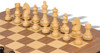 "German Knight Staunton Chess Set Ebonized & Boxwood Pieces Walnut Molded Chess Board - 2.75"" King"