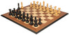 """New Exclusive Staunton Chess Set Ebonized & Boxwood Pieces with Walnut Molded Chess Board - 4"""" King"""