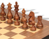 """German Knight Staunton Chess Set Golden Rosewood & Boxwood Pieces with Walnut Molded Chess Board - 3.25"""" King"""