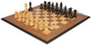 "French Lardy Staunton Chess Set Ebonized & Boxwood Pieces with Walnut Molded Edge Chess Board - 3.25"" King"