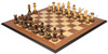 "Parker Staunton Chess Set Burnt Boxwood Pieces with Walnut Molded Chess Board - 3.75"" King"