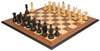 "Yugoslavia Staunton Chess Set Ebonized & Boxwood Pieces with Walnut Molded Chess Board - 3.875"" King"
