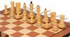 "Yugoslavia Staunton Chess Set Ebonized & Boxwood Pieces with Mahogany Molded Chess Board - 3.25"" King"