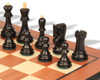 "Yugoslavia Staunton Chess Set Ebonized & Boxwood Pieces with Mahogany Molded Chess Board - 3.875"" King"