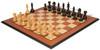 """Fierce Knight Staunton Chess Set Ebonized & Boxwood Pieces with Mahogany Molded Edge Chess Board - 3"""" King"""