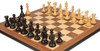 """New Exclusive Staunton Chess Set Ebonized & Boxwood Pieces with Walnut Molded Chess Board - 3.5"""" King"""
