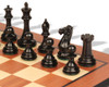 "New Exclusive Staunton Chess Set Ebonized & Boxwood Pieces with Mahogany Molded Chess Board - 3"" King"