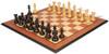 "New Exclusive Staunton Chess Set Ebonized & Boxwood Pieces with Mahogany Molded Chess Board - 4"" King"