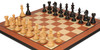 "Fierce Knight Staunton Chess Set Ebony & Boxwood Pieces with Mahogany Molded Edge Chess Board - 4"" King"