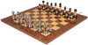 "Decorative Staunton Silver & Black Anodized Chess Set with Brown Ash Burl Board - 3.5"" King"