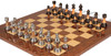 "Decorative Staunton Silver & Black Anodized Chess Set with Brown Ash Burl Board - 3.5"" King"