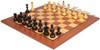 Soviet Era Russian Antique Reproduction Chess Set Ebonized & Boxwood Pieces with Mahogany Classic Chess Board