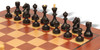 Soviet Era Russian Antique Reproduction Chess Set Ebonized & Boxwood Pieces with Mahogany Classic Chess Board