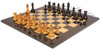 1849 Heirloom Staunton Chess Set Distressed Ebony & Boxwood with Black & Ash Burl Chess Board