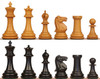 "1850 Heirloom Staunton Chess Set Ebony & Aged Boxwood Pieces - 4"" King"