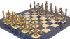 Renaissance Theme Metal Chess Set with Blue Ash Burl Chess Board
