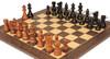 "French Lardy Staunton Chess Set Ebonized & Acacia Pieces with Deluxe Tiger Ebony Chess Board - 3.75"" King"