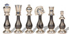 Large Classic Persian Staunton Chess Set Gold & Silver Pieces with Variegated Design by Italfama
