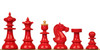Vienna Coffee House Antique Reproduction Chess Set Lacquered Red & Boxwood Pieces