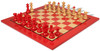 """Vienna Coffee House Antique Reproduction Chess Set High Gloss Red & Boxwood Pieces with Red & Maple Chess Board - 4"""" King"""