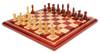 "British Staunton Chess Set in African Padauk & Boxwood with African Padauk and Maple Chess Board- 4"" King"