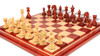 """Cyrus Staunton Deluxe Chess Set Package in African Padauk & Boxwood with Maple Solid Wood Chess Board- 4.4"""" King"""